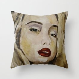 blonde with red lips Throw Pillow