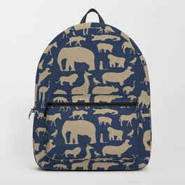 African Fauna // Khaki & Navy Backpack