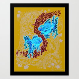 """Under the Sea""  (in deep blue) Art Print"