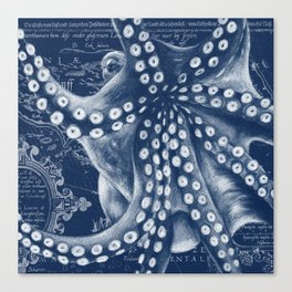 Octopus Vintage Map Blue Nautical Art Canvas Print