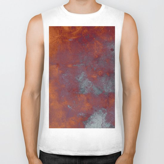 Cracked Amber - Textured abstract painting in amber and blue Biker Tank