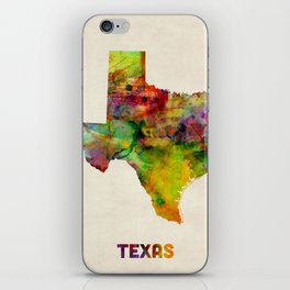 Texas Watercolor Map iPhone Skin