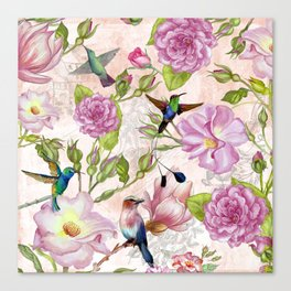 Vintage Roses and Hummingbird Pattern Canvas Print