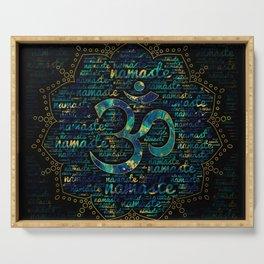 Namaste Word Art in Lotus with OM symbol Serving Tray
