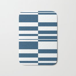 Abstract striped pattern.white and blue. Bath Mat