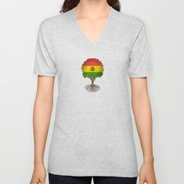 Vintage Tree of Life with Flag of Bolivia Unisex V-Neck
