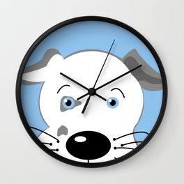 Cute Pit Bull Gray White with Blue eyes Cartoon Wall Clock