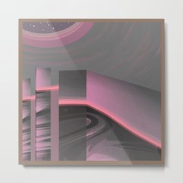 Claraboya, Geodesic Habitacle, Pink neon room Metal Print