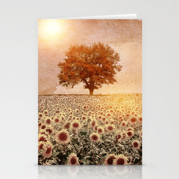 lone tree & sunflowers field (colour option) Stationery Cards