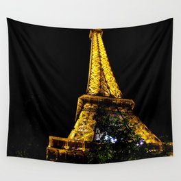Eiffel Tower lit up at night, Paris Wall Tapestry