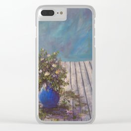Wildflowers on a Wood Table AC141213 Clear iPhone Case