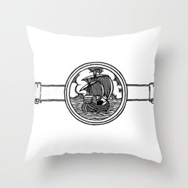 Ship stamp Throw Pillow