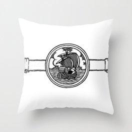 Ship stamp Throw Pillow