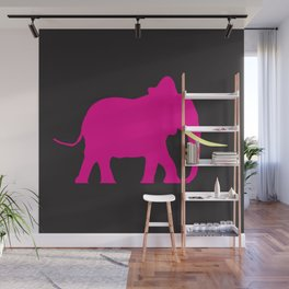 Pink Elephant On Black Wall Mural