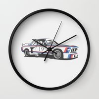 bmw Wall Clocks featuring BMW CSL Turbo by Remove Before . . .