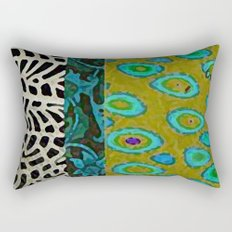 Teal & Olive Abstract Art Collage Rectangular Pillow