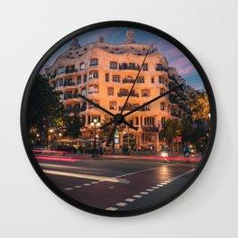 Casa Mila at Night Wall Clock