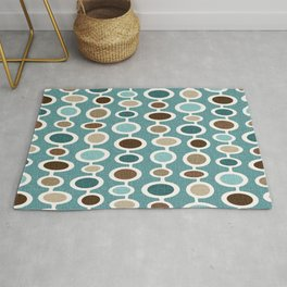 Mid Century Mushroom Clouds - Blue and Brown Earth Tones Rug