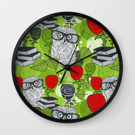Owls and rose. Wall Clock