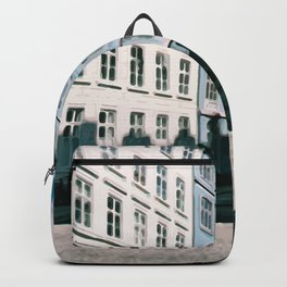 Painting of a Sunny Pastel-Coloured Residential Street in Central Copenhagen, Denmark Backpack