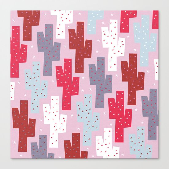 Sweet cactus pattern Canvas Print