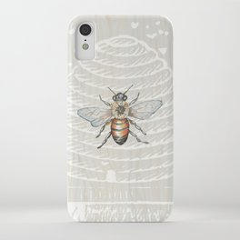 In the Bee Hive White on Wood Background iPhone Case