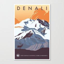 Denali National Park Travel Poster Canvas Print