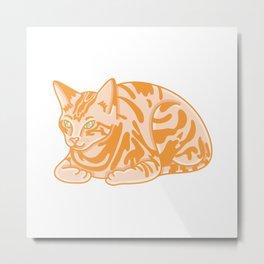 Cute Seated Cat Illustration Metal Print