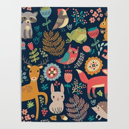 Blue Woodland Critters Pattern Poster