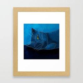 Sleeping Cat Abstract Digital Painting Framed Art Print