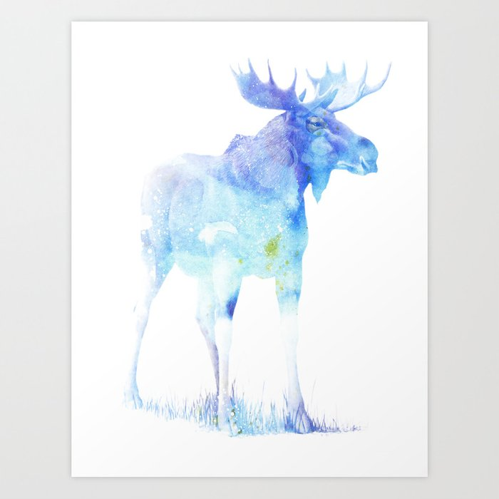Blue Watercolor Moose Art Print