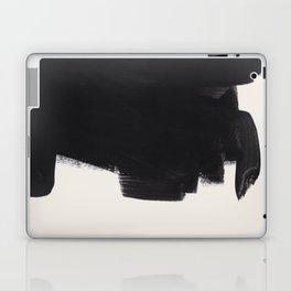 Mid Century Modern Minimalist Abstract Art Brush Strokes Black & White Ink Art Colorfield Laptop & iPad Skin
