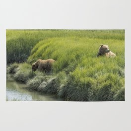 Two Brown Bear Cubs in a Meadow of Variegated Greens Rug