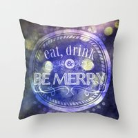 lettering Throw Pillows featuring Lettering II by Merwizaur