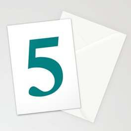 5 (TEAL & WHITE NUMBERS) Stationery Cards