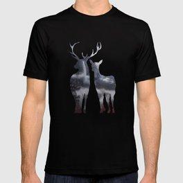 Forest deer family black pattern T-shirt