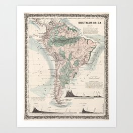 Vintage Map of South America (1858) Art Print
