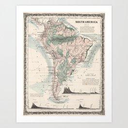 Vintage Map of South America (1858) Art Print
