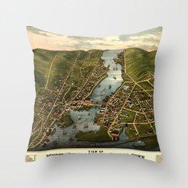 Map Of Mystic 1879 Throw Pillow