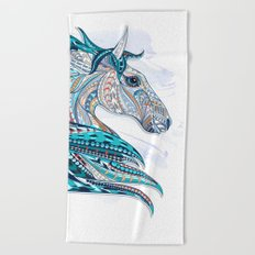 Blue Ethnic Horse Beach Towel