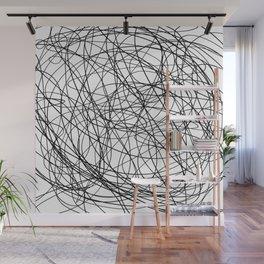 Black line doodle single line Wall Mural