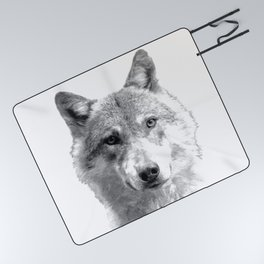 Black and White Wolf Picnic Blanket