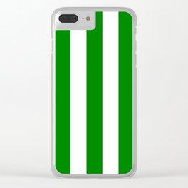 Green (HTML/CSS color) - solid color - white vertical lines pattern Clear iPhone Case