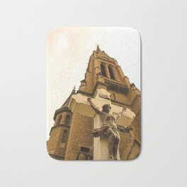 Church with Jesus Christ on cross in Subotica, Serbia Bath Mat