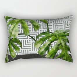 Monstera Leaves on Black Marble and Tiles Rectangular Pillow