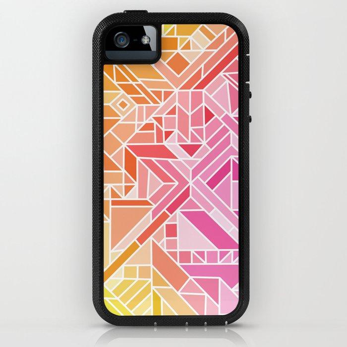 Bright Gradient (Hot Pink Orange Green Yellow Blue) Geometric Pattern Print iPhone Case