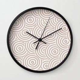 Beige Hypnotic Circle Pattern Graphic Design Wall Clock