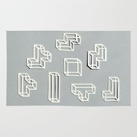 tetris Area & Throw Rugs featuring Tetris Papercut by Sally Eyeballs