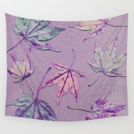 Japanese maple leaves - cerise and pistachio green on light purple Wall Tapestry
