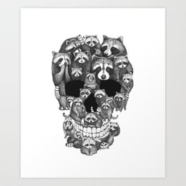 Skull from raccoons Art Print